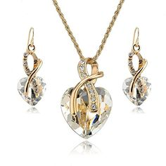 Jewelry Necklace and Earrings Set - YiaMia(TM) Clear Crystal Heart Pendant Necklace and Heart Earrings 18K Gold Plated Imitated Jewelry Sets for Women Girls Teen Girls Wedding Party Dresses YiaMia http://www.amazon.com/dp/B00SUW8IFO/ref=cm_sw_r_pi_dp_NUAVvb11KY0XW