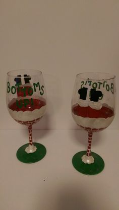 """Bottems up"" wine glasses"