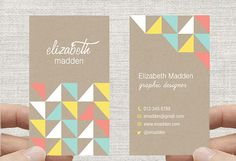 Geometric Triangles Business Card - Kraft Paper Rustic Design. Printable Premade Template, Calling Card . vertical design double sided