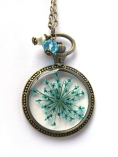 Teal Queen Anne Lace Resin Necklace  Real flower in by ScrappinCop, $15.00