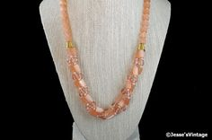 Glass Bead Bib Necklace Peachy Pink Twisted or by JessesVintage