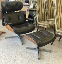 Eames Chair And Ottoman Made By Selig $1400 Dealer #81 Top Drawer Antiques  U0026 Mid