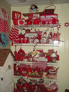 red kitchen.... since Pinterest, I've become extremely addicted to the red and white kitchen items!!!!!