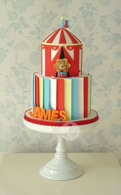 Circus Cake with Primary Colored Panels, Tent & Lion (James) Circus Theme Cakes, Themed Cakes, Circus Party, Circus Wedding, Fancy Cakes, Cute Cakes, Fondant Cakes, Cupcake Cakes, 1st Birthday Cakes