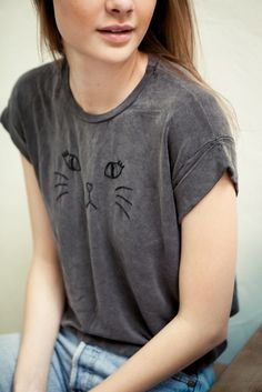 CALEIGH KITTY EMBROIDERY TOP ||| i was just thinking of ways i could diy this and if i had a gray shirt like this i would either do something like the picture or stich a fun patterned pocket on !