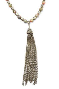 Stone Tassel Pendant Necklace