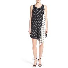 Petite Halogen Asymmetrical Shift Dress (115 BGN) ❤ liked on Polyvore featuring dresses, petite, white shift dress, crepe shift dress, white sleeveless dress, asymmetrical dress and scoop neck dress