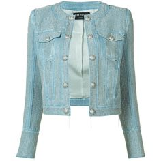 Balmain cropped embroidered jacket ($4,570) via Polyvore featuring outerwear, jackets, blue, blue cropped jacket, balmain, balmain jacket, metallic jacket and long sleeve jacket
