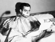 Mohammad Reza Shah in the hospital recovering from an assassination attempt in February 1949 by a member of the Tudeh communist party.