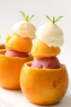 Sorbet in Orange Cups with Mint Sprigs