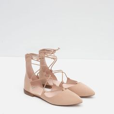 Image 5 of POINTED LACE-UP BALLERINAS from Zara