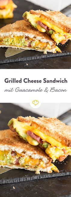 Packed in two slices of grilled cheese, the creamy cheddar grates in the pan. The cheese is accompanied by spicy bacon and buttery guacamole. The post Grilled cheese sandwich with guacamole and bacon appeared first on Food Monster. Sandwich Recipes, Snack Recipes, Dinner Recipes, Snacks, Pizza Recipes, Grill Sandwich, Avocado Recipes, Egg Recipes, Cheese Recipes