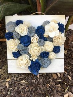 Bright Blue, gray, and ivory sola wood flower heart décor. Fake Flowers Decor, Sola Wood Flowers, Fabric Flowers, Paper Flowers, Wooden Flowers, Blue Wedding Decorations, Heart Decorations, Wood Crafts, Diy Crafts