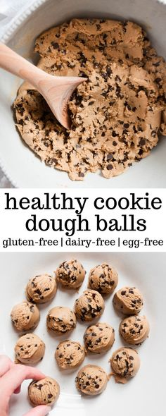 These Healthy Cookie Dough Balls are a healthy snack and take minutes to make. T… These Healthy Cookie Dough Balls are a healthy snack and take minutes to make. They are filled with nut butter, sweetened with honey, and only five ingredients total. Healthy Sweet Snacks, Healthy Cookies, Healthy Dessert Recipes, Easy Snacks, Healthy Baking, Yummy Snacks, Vegan Desserts, Healthy Desserts, Yummy Food