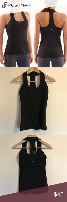 Lululemon Scoop Neck Tank | Sz 4 Black Great used condition Scoop Neck Tank with internal shelf bra. The straps on this one make it a total winner, and the Luon really holds everything in and is super flattering. Offers welcome! lululemon athletica Tops Tank Tops