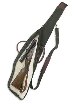 This rifle case features a shearing lining to keep your rifle carefully protected. Rifle Bag, Air Rifle, Rifles, Leather Craft, Leather Bag, Western Holsters, John Gray, Fly Fishing Gear, Gun Cases