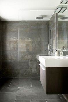 both love this. Like the grey concrete look. Also square sink unit