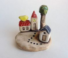 clay houses ceramic houses miniature house tiny by potteryhearts