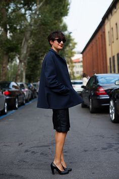 Gianna Greco, photographed by the Sartorialist; swing coat, red lip, short hair, pencil skirt