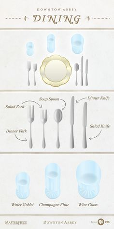 Manners are a must when dining at Downton Abbey. Follow this table setting infographic to perfect your next elegant dinner party.   As seen on Masterpiece PBS