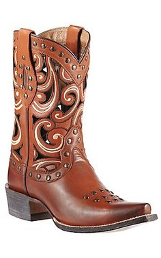 Ariat Paloma Women's Sequoia Bark w/ Scrolling & Studs Snip Toe Cowboy Boot