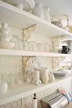 House Crashing: Breezy & Bright | Young House Love - How beautiful are those shelf brackets!!!
