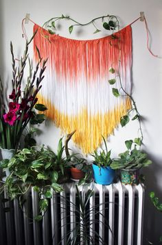 Handmade and dyed macrame wall, window, doorway, or anywhere hanging.  Approx. 30wide and 28 long