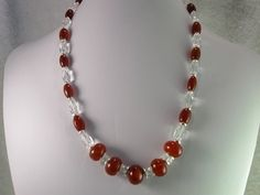 Red Agate Crystal Quartz AB Crystals Beaded Necklace Set by NaturesJewelsByVina, $69.99