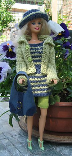 Ravelry: #0745 Dress with Stripes pattern by stickatillbarbie.se