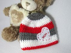 Valentine's Day Hat  Red Gray and White by crochetedbycharlene