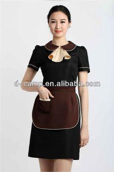 WU-010 Summer short sleeves restaurant waitress uniform dresses hotel housekeeping uniform