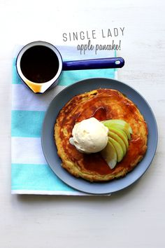 Single Lady Apple Pancake! | The Sugar Hit. There is something so curiously satisfying about this recipe. You make it, you eat it, and then it's gone. It uses one whole egg, one whole apple, and comes together in one bowl. You cook it in one pan, it makes one pancake, and it serves one.
