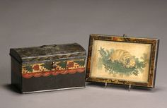 American Painted Tinware Document Box and a Theorem Painting of a Dog Mid-19th Century http://www.artfact.com/archives