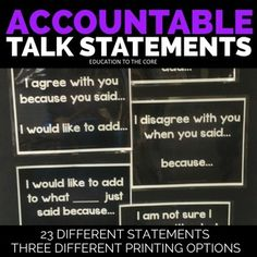 Accountable TalkIncrease the rigor in your classroom with Accountable Talk Statements from Education to the Core! Let the students do the work as you differentiate the appropriate posters for them to choose from throughout the year.  All 23 posters available in color (glitter and chalkboard background) and black and white!