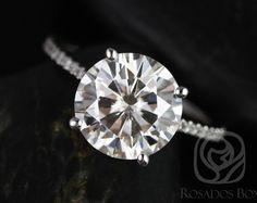 Eloise 10mm 14 carats Moissanite F1 - tour or blanc et diamants bague de fiançailles de la cathédrale (d'autres métaux et pierres options disponibles)