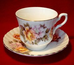 ROYAL STAFFORD BONE CHINA FLOWERS TEA CUP & SAUCER GOLD TRIM