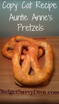 Copy Cat Recipe Auntie Annes Pretzels  - Includes video on how to form the pretzel
