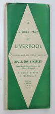 Approx 1950 old vintage Street Map Plan of Liverpool and District