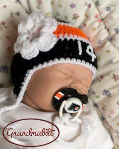 PHILADELPHIA FLYERS PACIFIER & Baby Girls Hockey by Grandmabilt, $31.00