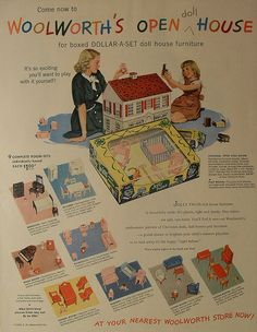 1948 WOOLWORTH'S Doll House 1940s Vintage Toy Department illustration F.W. Woolworth advertisement by Christian Montone, via Flickr