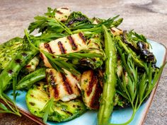 Grillede grønnsaker med persilleolje | Oppskrift | Vidar Bergum Seaweed Salad, Squash, Green Beans, Istanbul, Food And Drink, Vegetables, Ethnic Recipes, Eggplant, Pumpkins