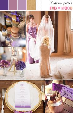 lavender gold wedding colors, purple gold wedding ideas | http://fabmood.com/lavender-lilac-purple-gold-wedding-palette/