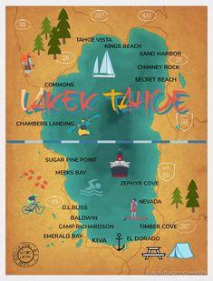 Secret Cove Lake Tahoe, Kings Beach Lake Tahoe, South Lake Tahoe Beaches, Lake Tahoe Map, Lake Tahoe Vacation, Lake Beach, Tahoe Vista, Baldwin Beach, Lakes In California