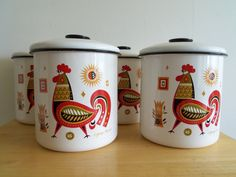 Mid Century Mod Georges Briard Set of 4 Rooster/ Chicken Enamel Metal Canisters on Etsy, $56.00