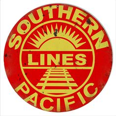 """Southern Pacific Lines Railway Railroad Sign, 14"""" Aluminum Metal Sign, USA Made Vintage Style Retro Home Decor Garage Art RG6613 by HomeDecorGarageArt on Etsy"""