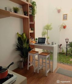 Small kitchen with wooden floor, white small island with wooden stools, wooden shelves , Home Room Design, Home Interior Design, House Design, Small Apartments, Small Spaces, Interior Garden, Home Decor Furniture, Minimalist Home, House Rooms