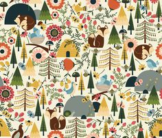 The Woodlands - Mustard fabric by oliveandruby on Spoonflower - custom fabric