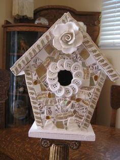 Broken China Mosaics and Buttons Bird House Vintage by thooker on Etsy