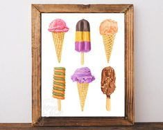 Ice Cream Print, Kitchen Poster, wall art, printable, decor, Lolly print, kitchen art, Instant Download, PRINTABLE WALL ART, 11x14, 8x10