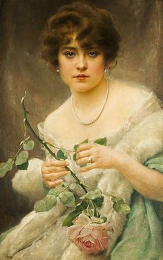 ~ Franz Dvorak ~ Czech painter, 1862-1927: Lady with a rose